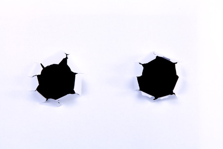 Two Black hole in white paper for advertisement.