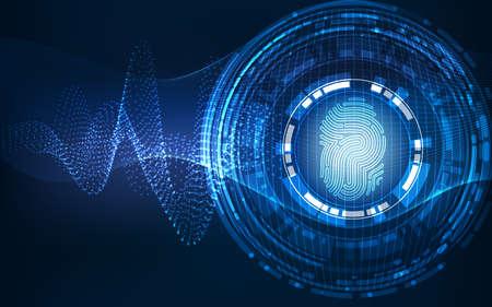 Photo pour Abstract technology background.Security system concept with fingerprint Letter P sign - image libre de droit