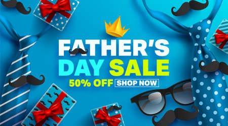 Illustration pour Father's Day Sale Promotion Poster or banner with open gift wrap paper concept.Promotion and shopping template for Father's Day.Vector illustration EPS10 - image libre de droit