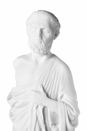 White marble bust of the greek  physician Hippocrates, isolated on white