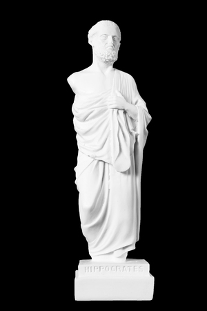 White marble bust of the greek  physician Hippocrates, isolated on black