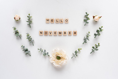 Foto per Hello November words on white marble background - Immagine Royalty Free
