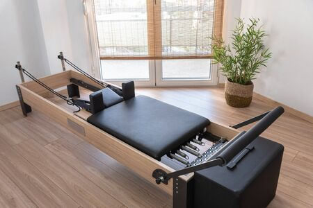 Photo for Pilates studio room with reformer beds - Royalty Free Image