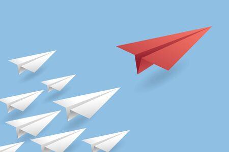 Illustration for Leadership Concept Background. Paper Air Plane Vector Illustration EPS10 - Royalty Free Image