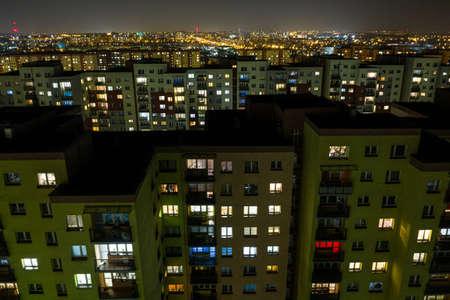 Photo pour City at night, flats in night lights in Dabrowa gornicza, Silesia, Poland - image libre de droit