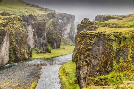 View into world famous Fjadrargljufur canyon, one of the most beautiful sights in southern Iceland