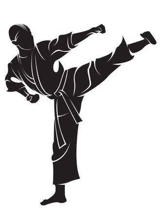 Karate fighter. Vector silhouette, isolated on white.
