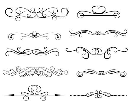 Illustration pour Set of decorative florish dividers, borders - image libre de droit