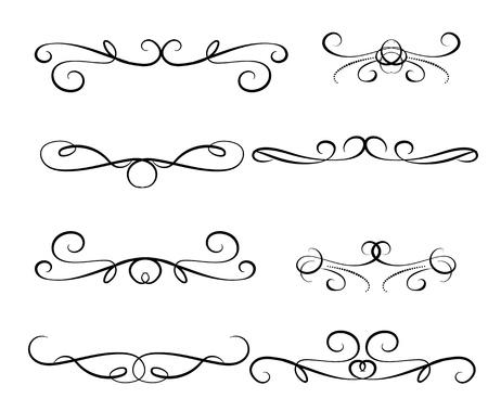 Illustration pour Set of decorative florish dividers borders - image libre de droit