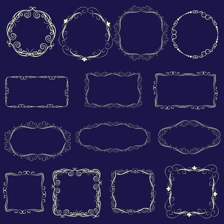 Illustration pour Set of decorative gold frames on the dark background. - image libre de droit