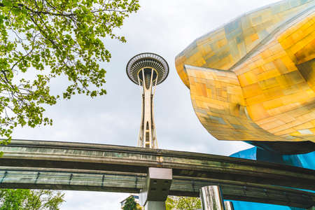 SEATTLE, WASHINGTON - April, 2016:Experience Music Project (EMP),Space Needle and EMP museum on the day.