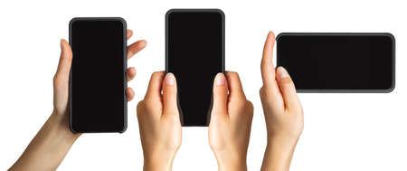 Photo for Set of womens hands showing black smartphone, concept of taking photo or selfie. Isolated with clipping path. - Royalty Free Image