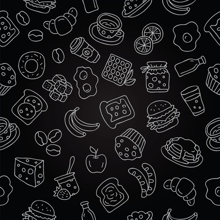 Seamless pattern of icon for breakfast on a black background, painted by hand.