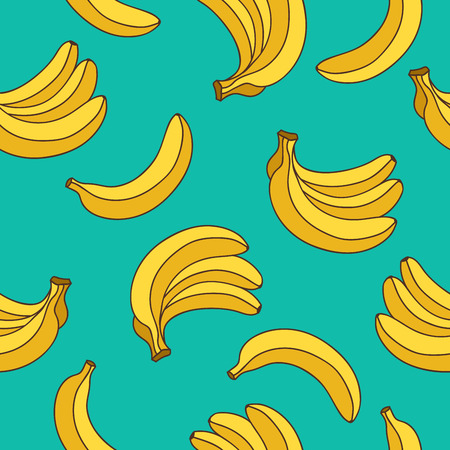Illustration pour Seamless vector pattern of yellow bananas on a blue background. - image libre de droit