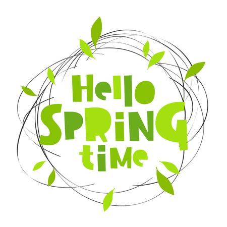 Ilustración de Hello spring time. Lettering. Vector illustration. Concept card. - Imagen libre de derechos