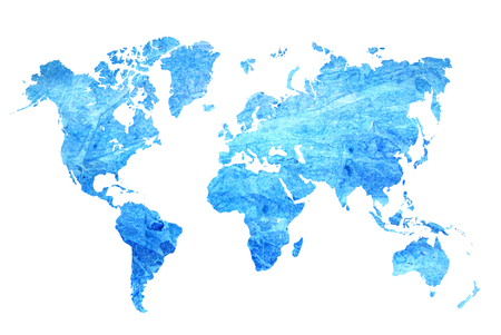 Photo pour Watercolor blue map of the world on a white background. Beautiful abstract. - image libre de droit