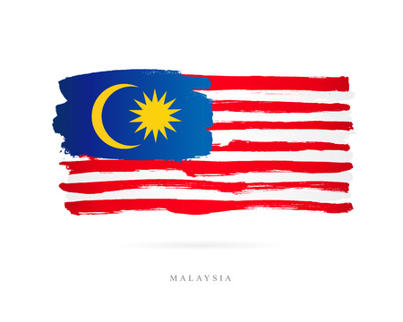 Illustration pour Flag of Malaysia. Vector illustration on white background. Beautiful brush strokes. Abstract concept. Elements for design. - image libre de droit