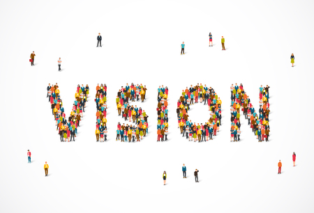 Ilustración de Group of people standing in the word Vision. Vector illustration on white background. Concept point of opinion. - Imagen libre de derechos