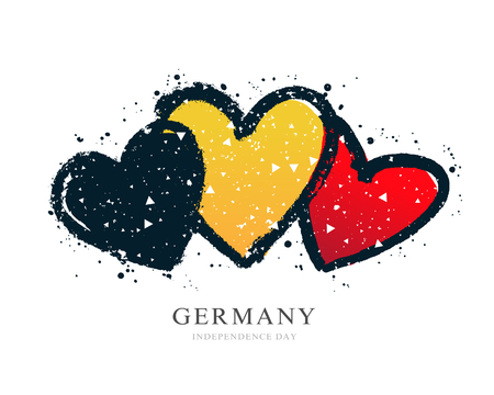 Illustration pour German flag in the form of three hearts. Vector illustration on white background. Brush strokes drawn by hand. Independence Day. National Unity Day of Germany. - image libre de droit