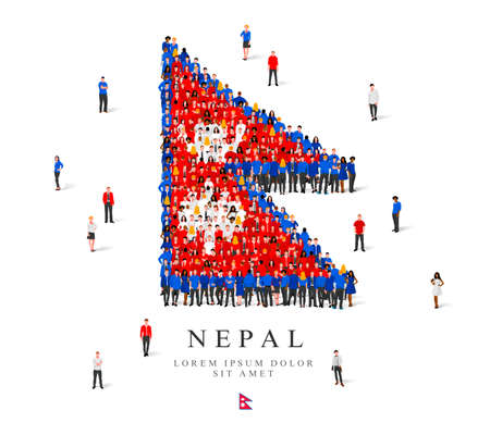 Illustration for A large group of people are standing in blue, white and red robes, symbolizing the flag of Nepal. Vector illustration isolated on white background. Nepal flag made of people. - Royalty Free Image