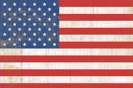 Simple of flag United State Of America. USA flag on old wooden texture