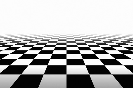Checkered Background In Perspective. Squares - black and white