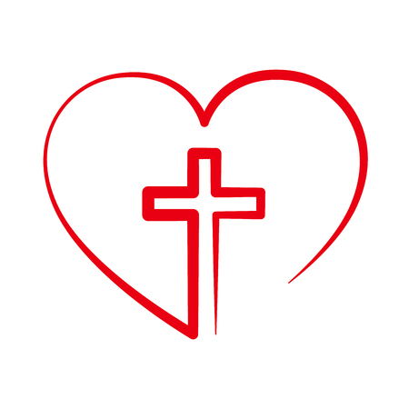 Illustration for Christian cross icon in the heart inside. Red christian cross sign isolated on white background. Vector illustration. Christian symbol. - Royalty Free Image