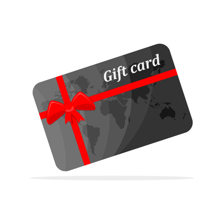 Gift card with red bow and ribbons. Vector illustration. Gift card, isolated on white background