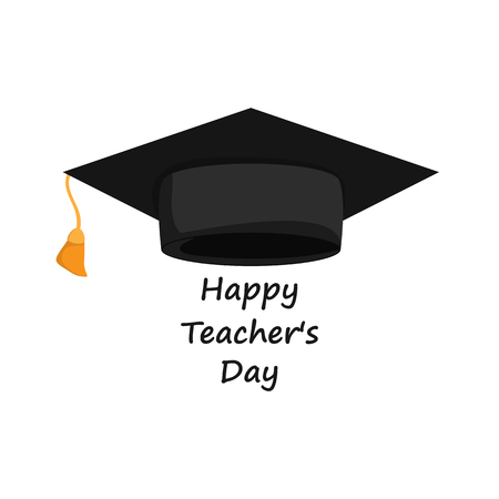 Happy Teachers Day banner with grad hat, isolated on white background. Vector illustration.