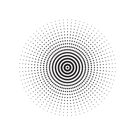Black Abstract Circle With Halftone Dots Effect Vector