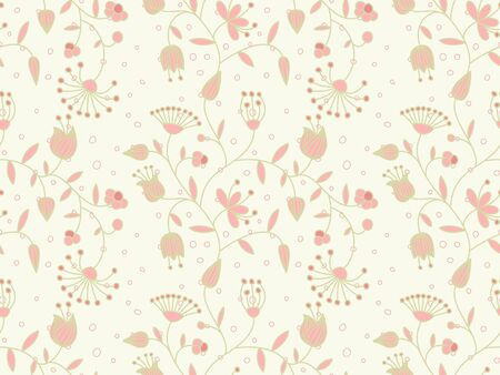 Vector pastel seamless background with floral pattern.