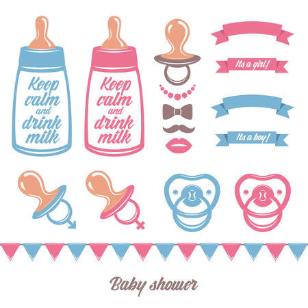 Baby shower vector set of design elements.