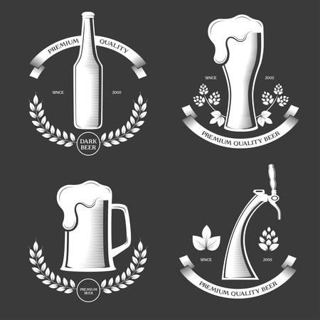 Beer pub vintage labels set vector illustration.