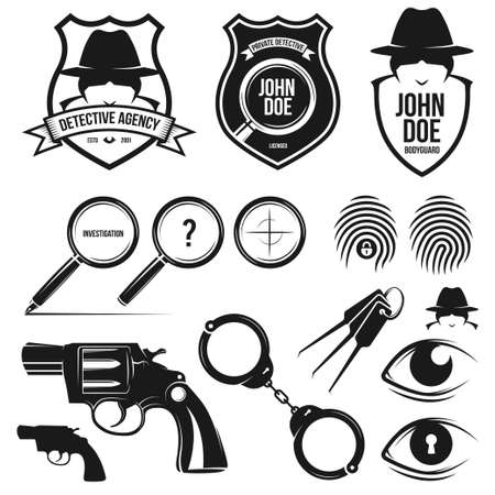 Private detective agency. Vector design elements toolkit.