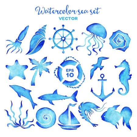 Vector watercolor sea set of design elements.