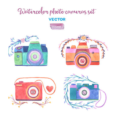 Watercolor vector photo cameras set. Isolated design elements.