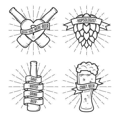Illustration pour Set of t-shirt beer prints. Beer labels, badges, design elements. Vintage ribbons with funny quotes. Phrases about beer. - image libre de droit