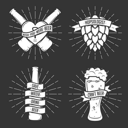 Set of t-shirt beer prints. Beer labels, badges, design elements. Vintage ribbons with funny quotes. Phrases about beer.