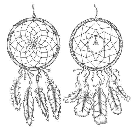 Dream catchers. Native american traditional symbol. T-shirt, bag, poster design. Vintage vector hand drawn illustration isolated on white background.