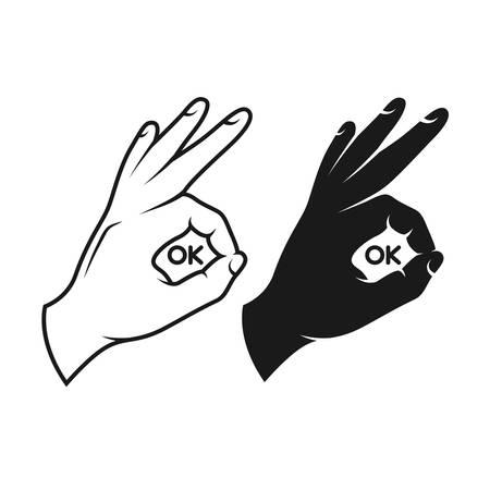 Hand making okay sign. Black and white variants. Vector vintage illustration. Ok text inside the sign.