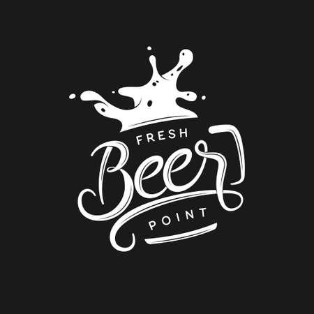 Illustration pour Beer point typography. Vector vintage lettering illustration. Chalkboard design element for beer pub. Beer advertising. - image libre de droit