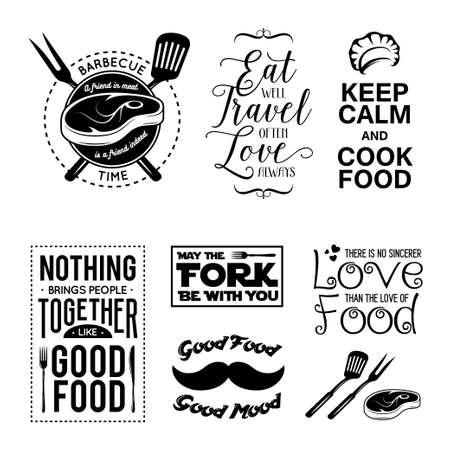 Illustration pour Set of vintage food related typographic quotes. Vector illustration. Kitchen printable design elements. - image libre de droit