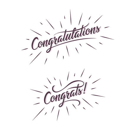 Illustration pour Congratulations. Hand lettering illustration. Calligraphic greeting inscription. handwritten typography. Trendy design element for greeting cards, prints and posters. - image libre de droit