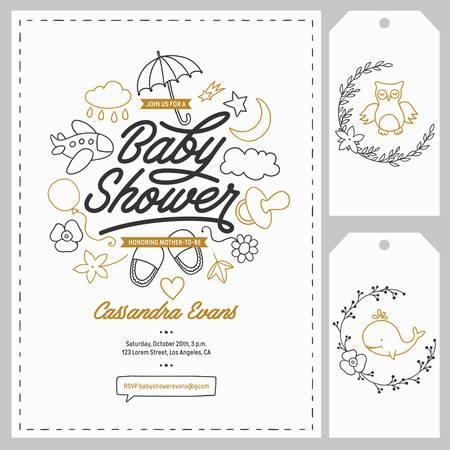 Illustration for Baby shower invitation templates set. Floral design elements for decoration. Baby shower holiday greeting cards. Hand drawn vintage illustration. - Royalty Free Image