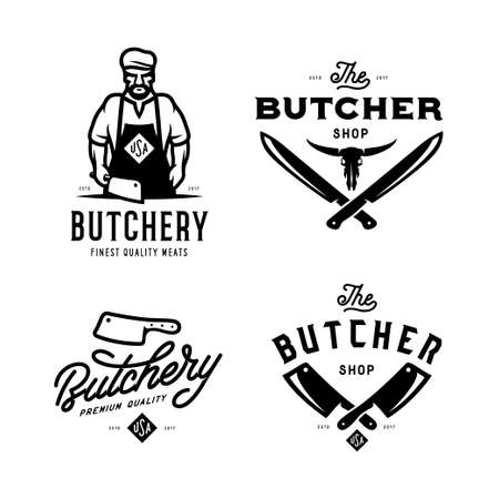 Ilustración de Butcher shop labels badges emblems set. Vector vintage illustration. - Imagen libre de derechos