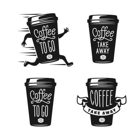 Ilustración de Coffee to go emblems set. Take away coffee labels. Vector vintage illustration. - Imagen libre de derechos