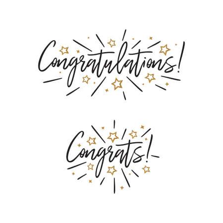 Illustration pour Congratulations. Hand lettering. Vector handwritten typography. - image libre de droit