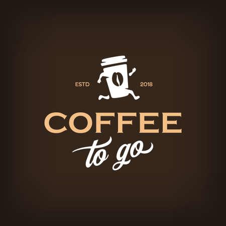 Ilustración de Coffee to go logotype template. Take away coffee emblem. Vector vintage illustration. - Imagen libre de derechos