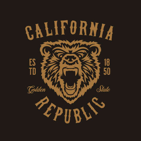 Illustration for California republic t-shirt design with grizzly bear head. Vector vintage illustration. - Royalty Free Image