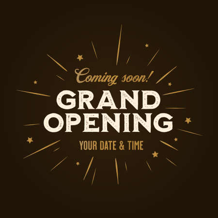 Ilustración de Grand opening template, banner, poster. Lettering design element for opening ceremony. Retro style typography. Vector vintage illustration. - Imagen libre de derechos